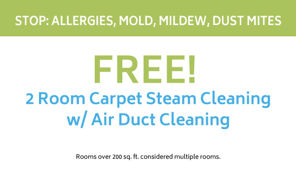 Free 2 room carpet steam cleaning with air duct cleaning coupon